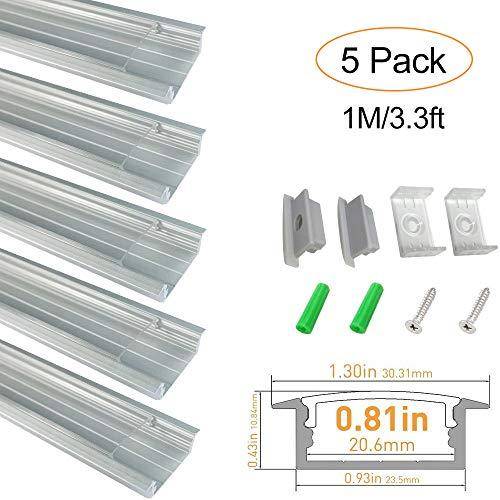 LED Aluminium Profil mit Transparente Abdeckung, lightingwill U Form Flush Mount eloxiert silber Channel System für LED Streifen Leuchte mit Kappen + Clips - U03-Silver(5x1M-Pack) -