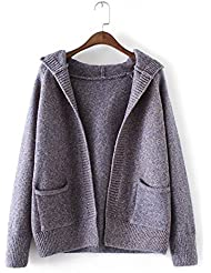 New Ladies Fashion Casual de punto con capucha Cardigan Sweater Coat