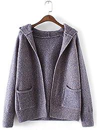 New Ladies Fashion Casual de punto con capucha Cardigan Sweater Coat