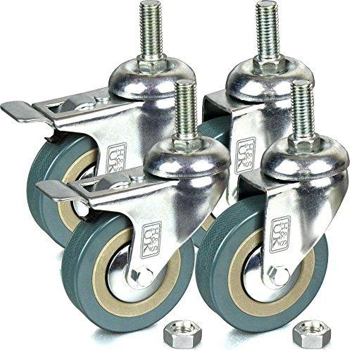 H&S Lenkrollen mit Gummibereifung, integrierte Schraube, 75 mm, 4Stück (2 x mit Bremse, 2 x ohne Bremse) M12-amp