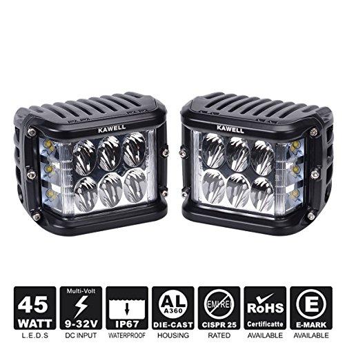 KAWELL Dual Side Shooter Led Cube 45W Led Lavoro Luce fuori strada Led Fog Lampada Lavoro luminoso