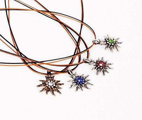 Wunderschöne Halskette in Edelweiß-Optik Silber Grün