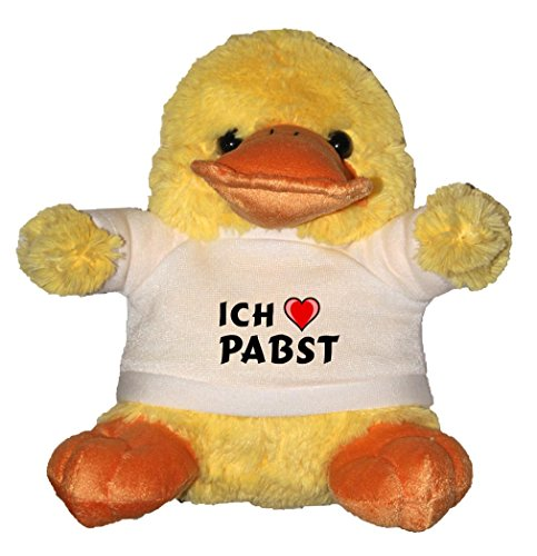 plusch-ente-mit-t-shirt-mit-aufschrift-ich-liebe-pabst-vorname-zuname-spitzname
