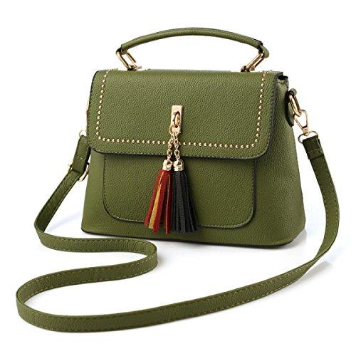 Sacchetto Di Spalla Portatile Signora Messenger Bag Piccola Piazza Frange darkgreen