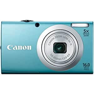 Canon PowerShot A2400 is 16.0 MP Digital Camera with 5X Optical Image Stabilized Zoom 28mm Wide-Angle Lens with 720p Full HD Video Recording and 2.7-Inch LCD (Blue)