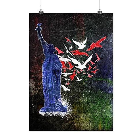 Freiheit Skulptur USA Mattes/Glänzende Plakat A2 (60cm x 42cm) | Wellcoda