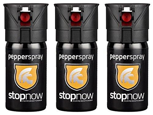 stopnow Pfefferspray mit Sprühstrahl 40ml, inkl. Guide, 3er Vorratspack