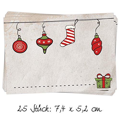 """25 Stück Aufkleber Etikett für Weihnachten """"Anhänger"""" im Retro-Vintage-Look beige und rot, beschreibbar; 7,4 x 5,2 cm; zum Verzieren und Beschriften von Weihnachts-Geschenken"""