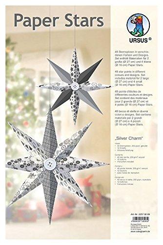 Ursus 22570099 - Paper Stars Silver Charm, 6 Sterne in 2 verschiedenen Größen, silber