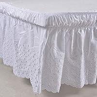 Falda de cama elástica con volantes, color sólido, para cama de 200 x 150 cm, caída de 38 cm