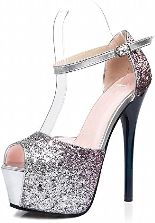 VSR Western con Ultra-Alto Flash Sobre la Plataforma Impermeable de Zapatos de Club Nocturno Flash Color Fue Sandalias...