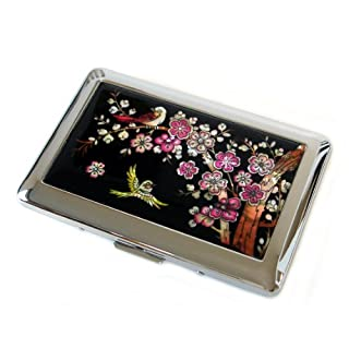 Mother of Pearl Pink Apricot Flower Yellow Bird Design Womens Engraved Metal Stainless Steel Cigarette Holder Case Storage Box