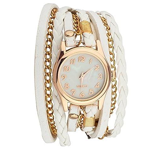 Lux Accessories Woven Chain Link Wrap Around Bracelet Analog Sports Quartz Wrist Watch