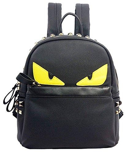 kukubird-fashionable-designer-monster-eyes-faux-leather-backpack-with-metal-stud-detailing-black