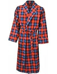 Lloyd Attree & Smith - robe de chambre légère 100% coton brossé - carreaux rouge/ bleu / jaune - homme