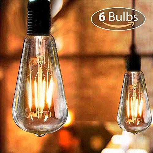 (Edison LED Glühbirne, isimsus Retro Glühbirne Warmweiß E27 Antike Glühbirne 40W Vintage Edison Glühbirne LED Filament Dekorative Glühbirne Ideal für Nostalgie und Retro Beleuchtung - 6 Stück)