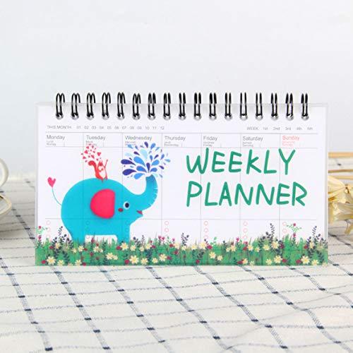 SLIJing Kawaii - Planificador semanal semanal de material escolar elefante