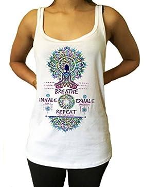 Jersey Top Buddha Meditación Respire, inhale el amor, exhale la gratitud y repita Imprimir JTK935