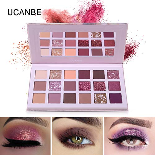 Battnot Lidschatten Palette 18 Farbe Wasserdicht Puder Matt Kosmetik Eingestellt Set Make-up Glitter Professionelle Augen Pigment Shiny Beauty Gesicht Shimmer Eyeshadow (18 Farben, Rosa) -