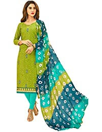 Women'S Green Semi Stitched Embroidered Jacquard Dress Material