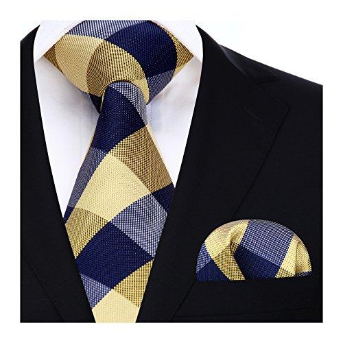 HISDERN Herren Krawatte Taschentuch Check Krawatte & Einstecktuch Set Gelb & Weiß & Grau