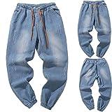 CICIYONER Herren Beiläufig Herbst Denim Baumwolle Jahrgang Waschen Hüfte Hop Arbeit Hose Jeans Hose