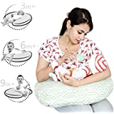 Lulamom Portable Comfortable Nursing Pillow For Mom & Baby- Allergen Protected Especially For Breastfeeding, Propping With Removable & Washable Cloud Design Cover-Mint Green