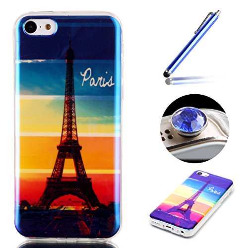 Etche iPhone 5C TPU Schutzhülle, Laser Reflect Blue Light Case für iPhone 5C, Transparent Frame Silikon Handyhülle für iPhone 5C,Premium Slim TPU Gel Soft Back Cover Zurück Schutzhülle Tasche für iPho Blue Light,Regenbogen Eiffelturm