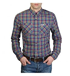 SUPERDRY Mens Casual Shirt (Blue, Large)