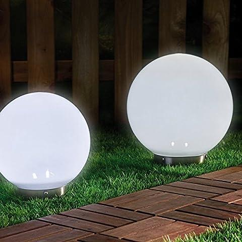2 x LED Solarleuchte MARA Gartenleuchte Kugelleuchte mit Erdspieß Bodenleuchte Kugelset Durchmesser 15 + 20cm Dekoration wahlweise umschaltbar zwischen LED kaltweiß und