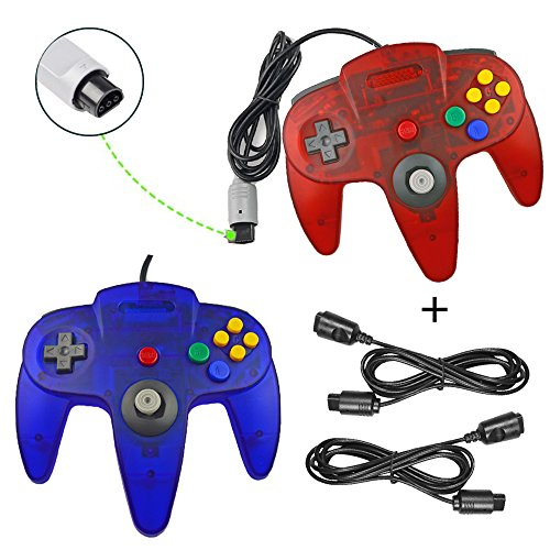 koalud Classic Retro Wired Gamepad Controller mit 2 x 6 ft Verlängerung Kabel für Nintendo 64 Nintendo64 N64 Konsole Clear Red and Clear Blue