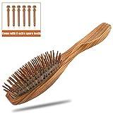 KIPIDA brosse à cheveux en bois, Naturel Bois de santal brosse à cheveux Anti-Statique massage du cuir chevelu démêlante Peignes avec en bois picots Pour homme femme enfant