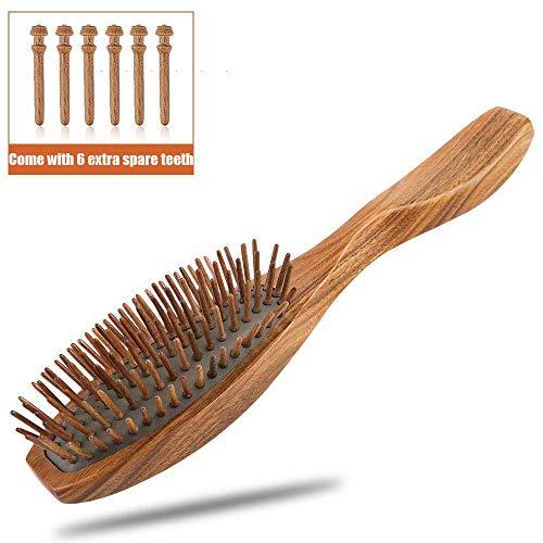 Haarbürste Holz, KIPIDA Kamm Holz Paddle Haarbürste Antistatisch Massage Haar Bürste Sandelholz Haarbürste mit holzborsten für Männer,Frauen und Kinder
