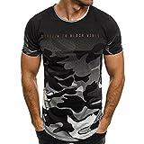 Herren T-Shirts FORH Männer Mode Persönlichkeit Sport Kurzarm Bluse Vintage Camouflage Rundhals Sommer T-Shirt Casual Oversize Kurzarmhemd Weich Lose Tank Top Oberteil (Grau, M)