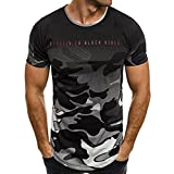Herren T-Shirt Bluse Camouflage Casual Slim Kurzarm Shirt Top (Grau, L)