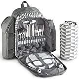 VonShef 4 Person Geo Grey Picnic Backpack With Blanket – Includes 29 Piece Dining Set & Cooler Compartment to Keep Food Chilled for Longer