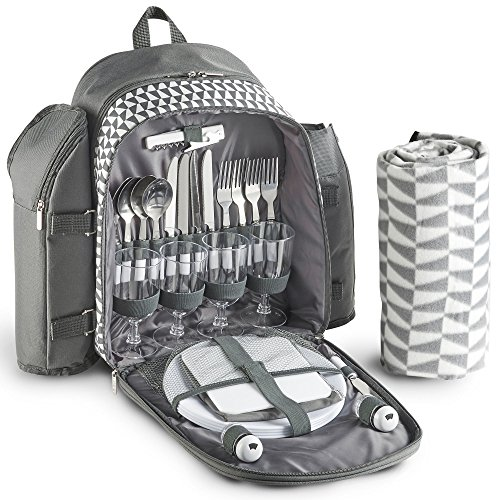 vonshef-4-person-geo-grey-picnic-backpack-with-blanket-includes-29-piece-dining-set-cooler-compartme