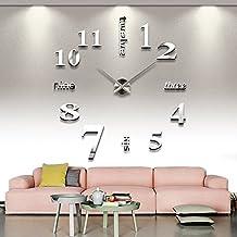 Orologio gigante da parete in argento, XXL 3D in acrilico