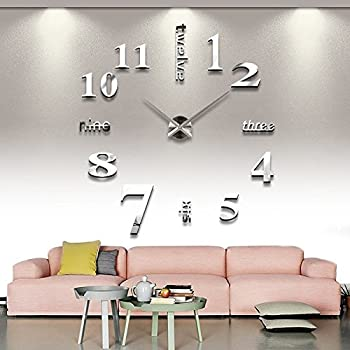 silberne riesen designer wanduhr dekoration wandtatoo xxl 3d aus acryl. Black Bedroom Furniture Sets. Home Design Ideas