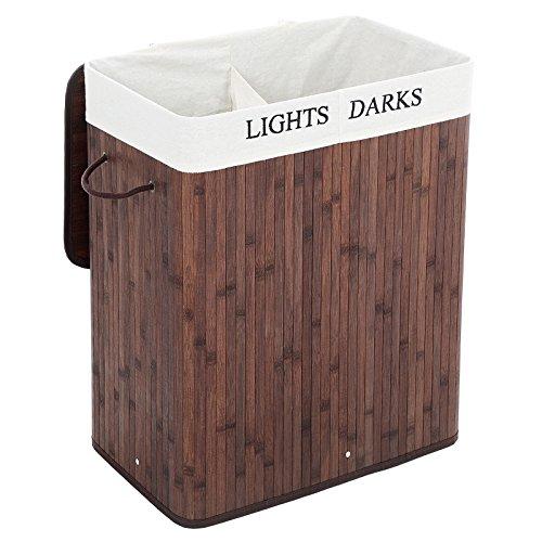 Songmics 100L (62,5 x 52 x 32 cm) Wäschekorb Wäschesammler Wäschebox Wäschetruhe Wäschekiste Bambus Faltbar Wäschebox mit 2 Fächern Wäschetonne mit herausnehmbaren Wäschesack Braun LCB62Z
