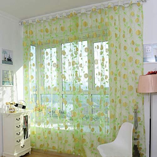Jyuesi fabelhafter europäischer Stil Fashion Jacquard Sheer Gardine Schlafzimmer Fenster Tüll Glas Paravent Pink Gelb Grün Blau Vergoldet Vorhang im feinen Stil 1 M to 2 M Green