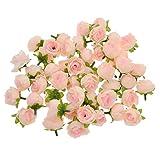 YNuth 50pcs Roses Artificielles Capitules Têtes de Fleurs Décoration DIY Pour Mariage Fête Maison (Champagne)