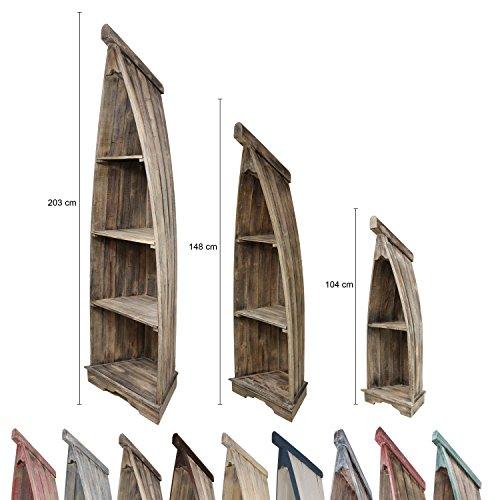 Bootsregal Boot Regal Bücherregal Bücherschrank Standregal Aufbewahrung 104 cm Albesia Holz Braun (Antik Bücherschrank)