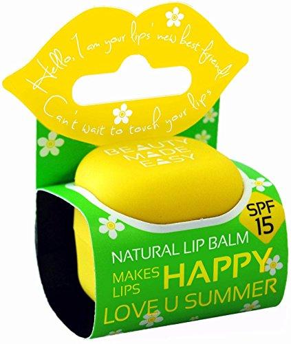 BEAUTY MADE EASY - Baume à Lèvres Naturel - Love u Summer SPF 15 - Parfum exotique - Nourrissant et hydratant - Avec huiles de ricin et de coco - 7 g