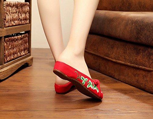 Y&M Gestickte Schuhe, Sehnensohle, ethnischer Stil, weiblicher Flip Flop, Mode, bequem, Sandalen Red
