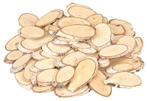 NaDeco Birkenscheiben oval 50 STK. 5-10cm | Birkenscheiben | ovale Holzscheiben | Birkenstamm geschnitten | Birkenkolz | Holz Deko