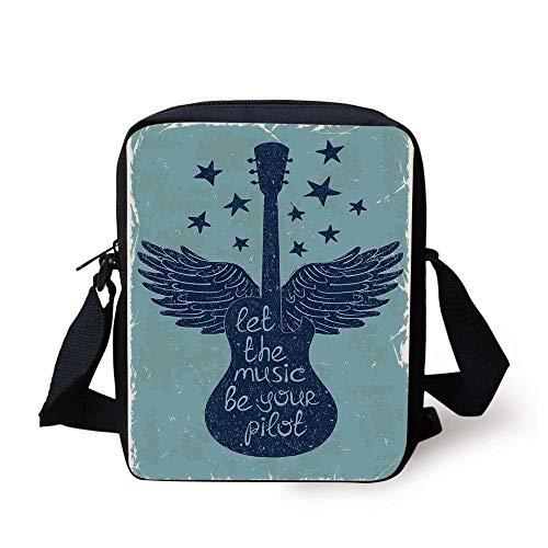 Music Decor,Let The Music Be Your Pilot Quote Winged Electronic Guitar and Stars Retro Graphic Print,Dark Blue Print Kids Crossbody Messenger Bag Purse -