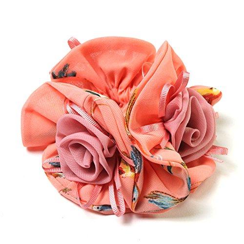 Satin-Haargummi mit Kolibris und drei aufgesetzten Stoff-Rosen (lachsfarben) 021-00157 - Rose Haargummi