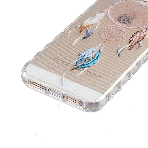 Custodia iphone SE, Cover iphone 5 5S Sunroyal® [Protezione goccia] [Antigraffio] TPU Gel Silicone Case Trasparente Cristallo Chiaro Skin Protettiva Shell Bumper Soft Morbido Ultra Sottile Cassa Prote Modello 15