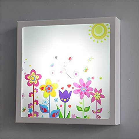 Cartoon Flower Children Applique Lampe de chevet Nursery Princesse Nursery